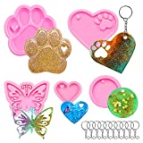 Keychain Mold for Resin,Heart and Paw Shape,Butterfly Skeleton and Round Keychain Epoxy Silicone Molds with 20 Keyrings for DIY Keychain Decoration,Pendant Jewelry,Crafts,Gift