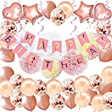 """92Pcs Birthday Party Decorations Rose Gold Birthday Banner Birthday Decorations for Girls and Women Including """"HAPPY BIRTHDAY"""" Banner Foil Balloons Paper Pom Poms Confetti Balloon Party Supplies"""