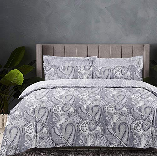 Linen Zone 5 Piece 300 Thread 100% Egyptian Cotton Sateen Reversible Duvet Cover Set (Paisley, Double)