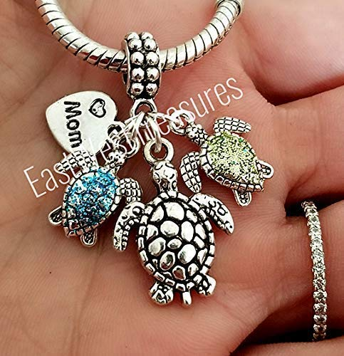 Mothers Birthstone Bracelet Necklace with Mom and baby Turtle Charm, with 2 3 4 5 6 Kids Children Birthstone