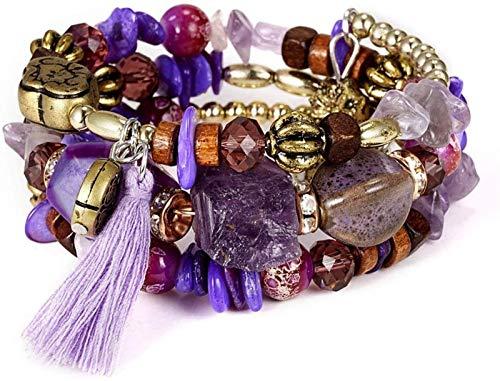JPSOUP Pulsera de Piedra Mujer, 7 Chakra Purple Purple Beads Crystal Elástico Bangle Tassel Boho Estilo Joyería Yoga Energía Reiki Reza Charm Diffuser Regalo para Pareja