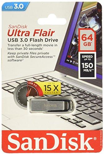 Sandisk Ultra Flair USB Flash Drive, 64 GB, Silver (SDCZ73-064G-A46)