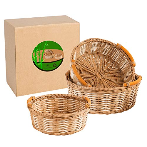 Set of 3 Rattan Baskets - 11' Bread Basket for Serving – Handmade Fruit Bowl for Kitchen – Natural Eco-Friendly Material – Multifunctional and Sturdy Design – Ideal for Storage, Decoration