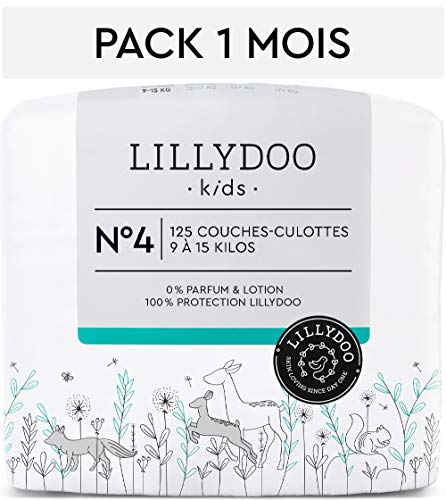 Couches-culottes LILLYDOO Taille 4 (9-15 kg) - 125 culottes - Pack 1 mois
