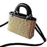 Rich-home Strandtasche Tragbare Kleine Quadratische Tasche Stroh Gewebte Tasche Hit Farbe Handtasche Sommer Reise Griff Tasche Damen Schulter für Mädchen