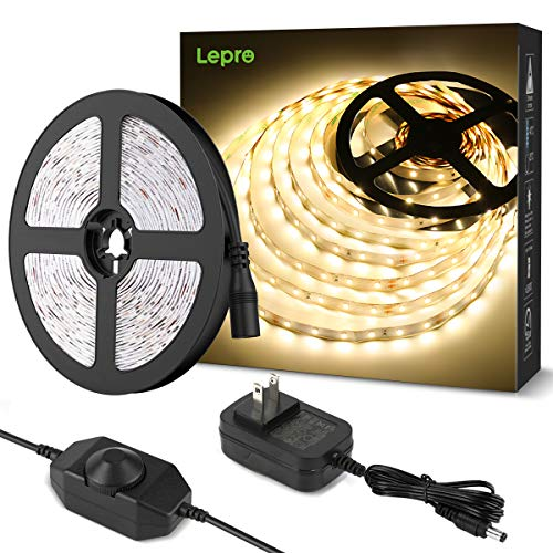 Lepro LEDテープライト 電球色 無段階調光 間接照明 ledテープ 5m 高演色タイプ 300LED高輝度 ストリップライト 2ピン 2835SMD 切断可能 ストリングライト 寝室/お部屋/店舗/コレクション/看板照明 led テープライト