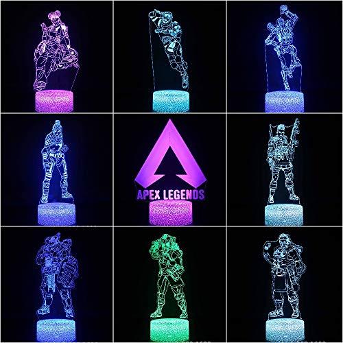 Kinder LED Nachttischlampe APEX Legends Hero Figur Nachtlicht Kinderzimmer Wraith Pathfinder Octane Mirage Lifeline Nachtlicht