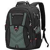 NEWHEY Zaino Porta PC Zaini Lavoro Uomo Notebook Laptop Borsa 17 17,3 Pollici Impermeabile con USB Zainetto da Viaggio Scuola Affari Grand (Verde)