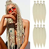 [MULTI PACKS DEAL] SOKU Spetra Pre-Stretched Braiding Hair Extensions 24 inch #613 Color - 8 Bundles Synthetic Crochet Braids, Ombre Colorful Natural Easy Braid Crochet Hair, Hot Water Setting Professional Soft Yaki Straight Texture (Platinum Blonde )