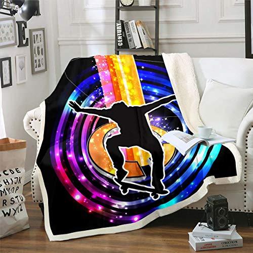 Manta de forro polar para deportes extremos, para niños, adolescentes, hombres jóvenes, Hip Hop, elegante manta de felpa con purpurina azul galaxia, para sofá cama, doble de 152 x 192 cm