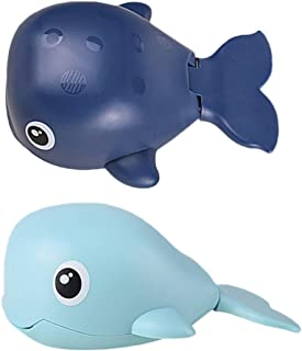 TOYANDONA 2Pcs Baby Bath Toys Wind-up Toy Water Spray Toy Whale Toys Bathtub Toys Water Playing Toy for Toddlers Kids Chil...