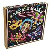 ARENART | Pack 4 Karnevalsmasken Fantasie Style| mit farbigem Sand malen | Kunsthandwerk für Kinder | Malen nach Zahlen | +6 Jahre