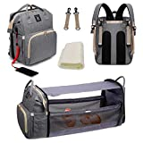 Diaper Bag Backpack with Foldable Crib, Detachable Bassinet, Nappy Bag Changing Station, Portable Travel Baby Bag with Crib, Sunshade Cloth, Free Mattress