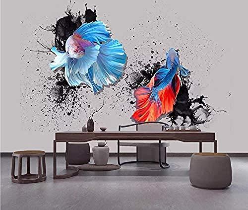 Fondo de pantalla de Guppies rojo azul cielo tinta dibujada a mano Pared Pintado Papel tapiz 3D Decoración dormitorio Fotomural de estar sala sofá mural-250cm×170cm