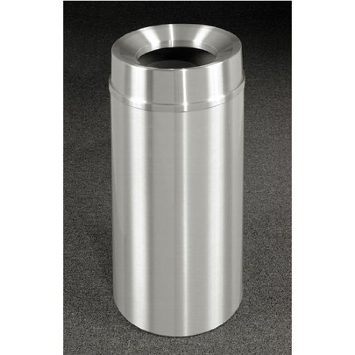 Glaro New Yorker Funnel Top Waste Receptacle, 33 Gal, 20 inch Dia x 35 inch H, All Satin Aluminum