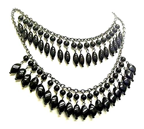 Fashionjewellery4u - Collana girocollo con perline nere a 2 file, per travestimenti, gioielli Burlesque, per donne e ragazze nel Regno Unito