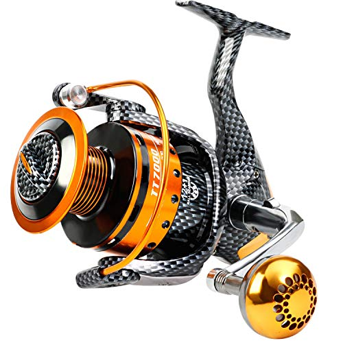 Burning Shark Fishing Reels- 12+1 BB, Light and Smooth Spinning Reels, Powerful Carbon Fiber Drag, Saltwater and Freshwater Fishing-TT1000