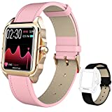 Smart Watch for Women,MAXTOP Fitness Watch with Blood Pressure Heart Rate Monitor Sleep Tracker,Waterproof Smartwatch Compatible with iPhone Android Phones, Activity Tracker with Leather Strap (Pink)