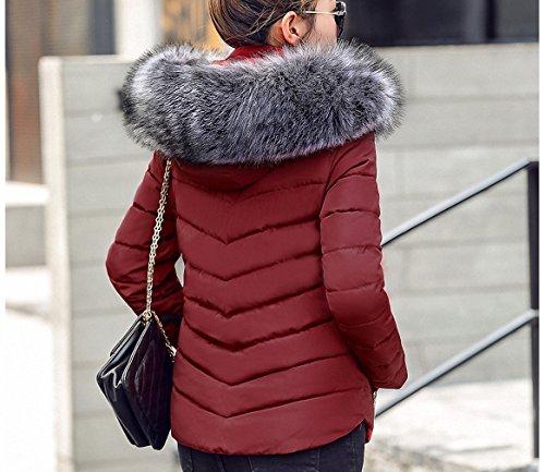 Womens Parka Fake Fur Collar Parka Down Cotton Jacket Thick Parkas Burgundy S