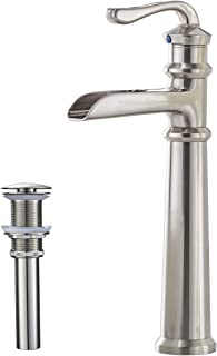 Greenspring Waterfall Single Handle One Hole Commercial Bathroom Vessel Sink Faucet Deck Mount Brushed Nickel
