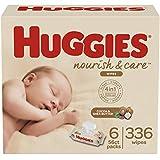 Huggies Nourish & Care Scented Baby Wipes, 6 Flip-Top Packs (336 Wipes Total)