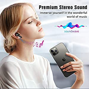 Wireless Earbuds,Lanteso Bluetooth Earbuds with Mics Clear Call Touch Control, in Ear Bluetooth Headphones with Premium Stereo Sound Deep Bass Earphones Waterproof for Sports,Work (Black)