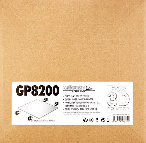 Velleman GP8200 Panneau en verre pour Imprimante 3D - 21,5 x 21,5 x 0,3 cm