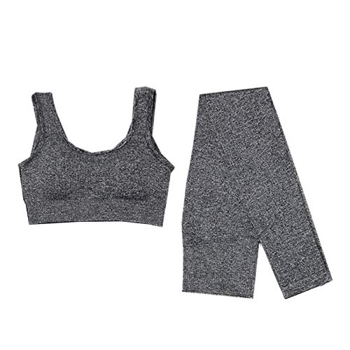 Adaskala Traje de yoga para mujer Chándal de entrenamiento Conjuntos de ropa deportiva Pantalones de yoga súper elásticos sin costuras Sujetadores deportivos Top corto Leggings de yoga de cintura alta
