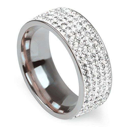 Anello di fidanzamento Mcsays alla moda, 5 file di cristalli trasparenti, in acciaio INOX satinato all'esterno, vistoso anello con zirconi cubici