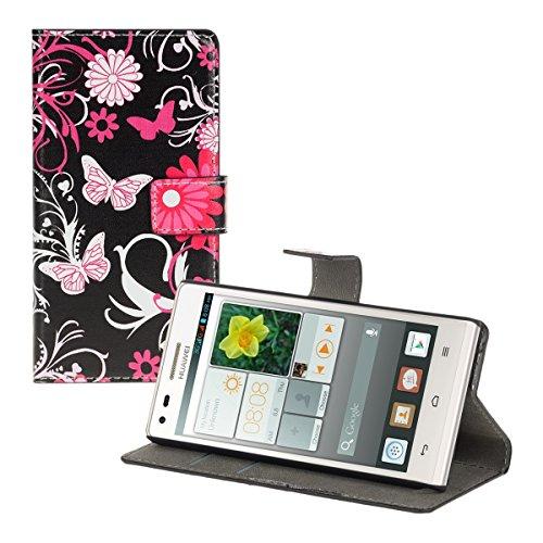 kwmobile Huawei Ascend P7 Mini Hülle - Kunstleder Wallet Case für Huawei Ascend P7 Mini mit Kartenfächern & Stand - Schmetterlinge Design Pink Rosa Schwarz