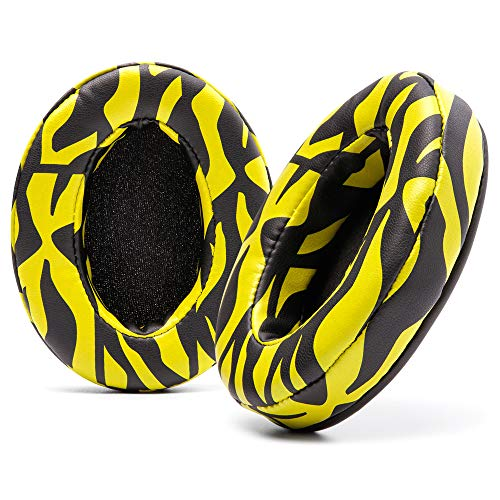 WC Wicked Cushions Upgraded Replacement Earpads for ATH M50X - Fits Audio Technica M40X / M50XBT / HyperX Cloud & Cloud 2 / SteelSeries Arctis 3/5 / 7 / 9X & Pro Wireless/Stealth 600 | (Yellow Tiger)