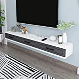 Consola de TV flotante Banco de TV con tres espacios independientes Muebles modernos 2 cajones Estante de almacenamiento minimalista Router y Armario de caja de cable