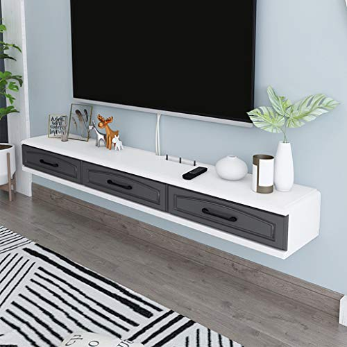 TV Ark Floating TV Console Cabinet TV Bench with Three Independent Spaces Modern Furniture 2 Drawers Minimalist Storage Shelf Router & Cable Box Locker (Color : Gray+White, Size : 120cm(47.2in))