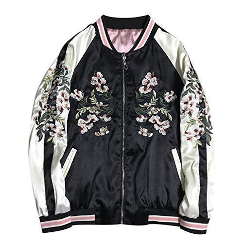 Floral Crane Stickerei Bomberjacke Frauen Harajuku Pilot Basic Jacke,A,S