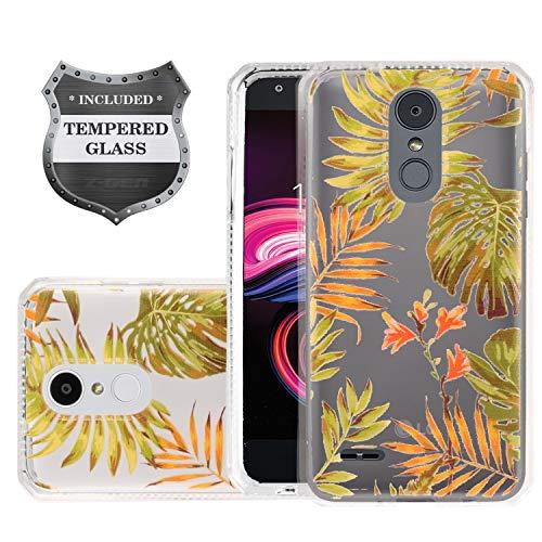LG K30 LM-X410, Xpression Plus, Phoenix Plus X410AS, Harmony 2, CV3 Prime, Premier Pro LTE L413DL – Slim Image Air Cushion Case + Tempered Glass Screen Protector – AC1 Green Leaves