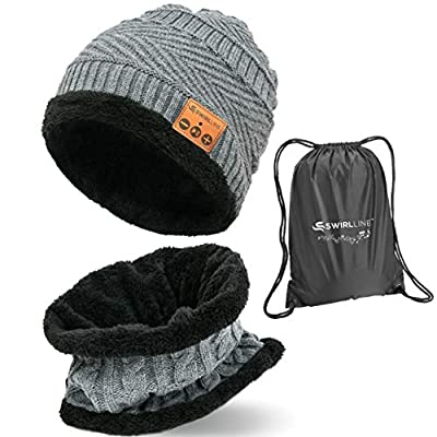 Bluetooth Beanie Wireless Hat with Scarf – Headphone Beanie Hat with Upgraded Bluetooth 5.0 - Wireless Beanie Bluetooth Hat for Women Men Teens - Warm Knitted Fleece Music Hat - Gorros con Bluetooth by S SWIRLLINE