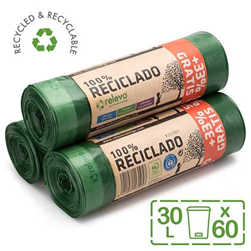 Relevo 100% Reciclado Bolsas de Basura, extra resistentes 30 L, 60 bolsas