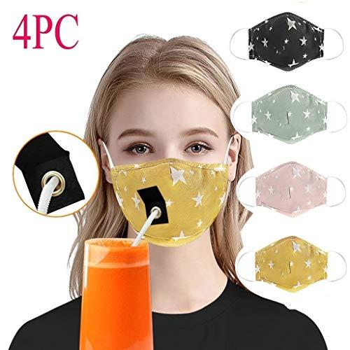 4 Stück Mundschutz waschbar mit Motiv, Mundschutz mit Loch, Anti-Staub mundschutz atmungsaktive mundbedeckung Stoff Baumwolle gesichtsschutz Leicht Getränke zu Trinken