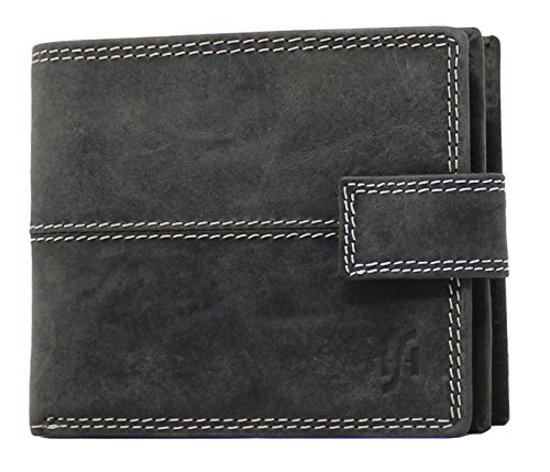 StarHide Mens Wallet RFID Safe Contactless Security Purse Distressed Hunter Leather with External Zip Round Coin Pocket 1044 Matt Black