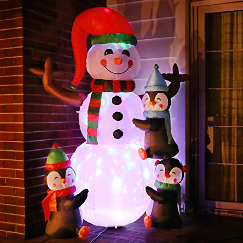 VIVOHOME 6ft Height Christmas Inflatable Snowman and Penguins with Colorful Rotating Led Lights Blow up Outdoor Yard Decoration