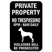 PRIVATE PROPERTY ブラックマグネットサイン:グレートデーン(立ち耳) シルエット 英語 私有地 無断立入禁止