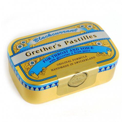 Grether\'s Pastilles Blackcurrant Gold für Hals und Stimme, 110 g Pastillen