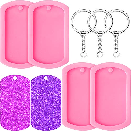 Dog Tag Shape Silicone Molds Fondant Cake Molds Keychain Pendant Molds with Hole and Keyrings for DIY Chocolate, Cake, Pudding, Ice Cream, Jelly Decoration (24 Pieces)