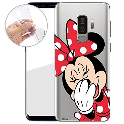 Finoo Handyhülle Geeigent für Samsung Galaxy S9 Plus - Disney Handyhülle mit Motiv und Optimalen Schutz TPU Silikon Tasche Case Cover Schutzhülle - Minnie Mouse Lacht