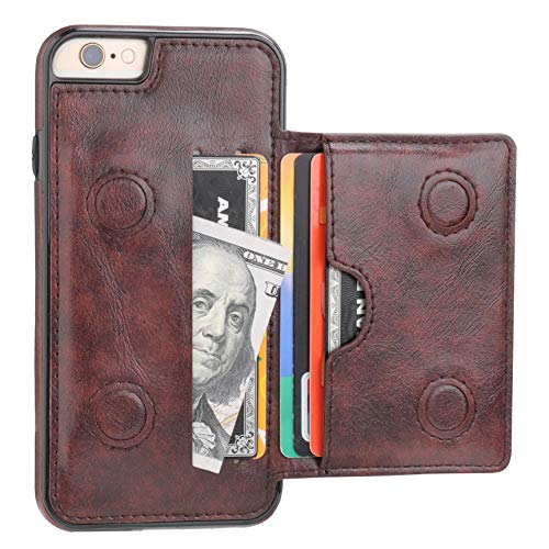 KIHUWEY iPhone 6 iPhone 6S Wallet Case with Credit Card Holder, Premium Leather Kickstand Durable Shockproof Protective Cover for iPhone 6/6S 4.7 Inch(Brown)