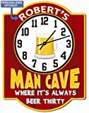 Redeye Laserworks Personalized Beer Thirty Red Garage Hardboard Clock Sign from