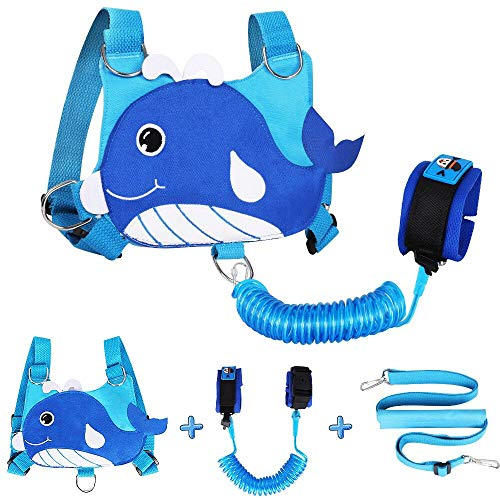 Lehoo Castle Correa para niños pequeños 4 en 1 Anti Lost Wrist Link Arnés de seguridad para niños Muñequera para niños Asistente de correa para niños (ballena)