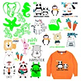 Luminous Heat Transfer Stickers for Children Ironing Clothes Patches 4 Sets of Cute Animal Decals Santa Head DIY T-Shirt Jeans Backpack Clothing Accessories Birthday Gift(White)。