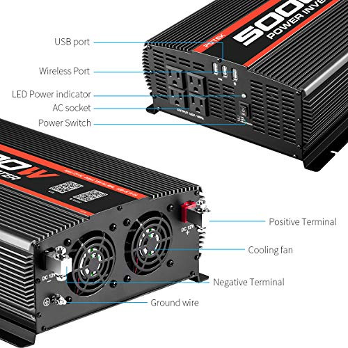 POTEK 5000W Power Inverter 4 AC Outlets 12V DC to 110V AC Car Inverter with Bluetooth and 2 USB Ports