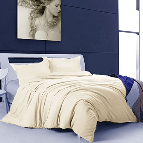 Other PLAIN DUVET COVER WITH PILLOW QUILT CASE 200 THREAD COUNT BEDDING SET[Latte,King]